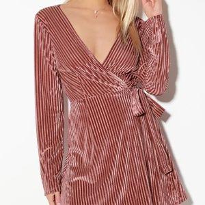 Striped Velvet Long Sleeve Wrap Dress